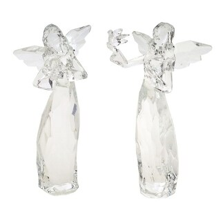 Pack of 6 of an Assortment of 2 Clear Acrylic Christmas Angels 7.25