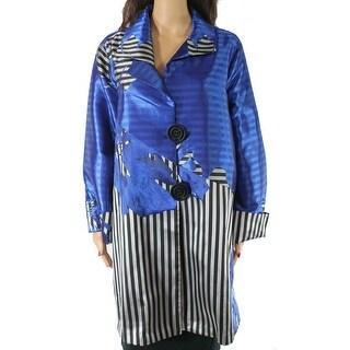 IC Womens Jacket Blue Size 3X Plus Dual Button Striped Floral Jacquard