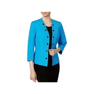 Kasper Womens Open-Front Blazer Linen Grommet