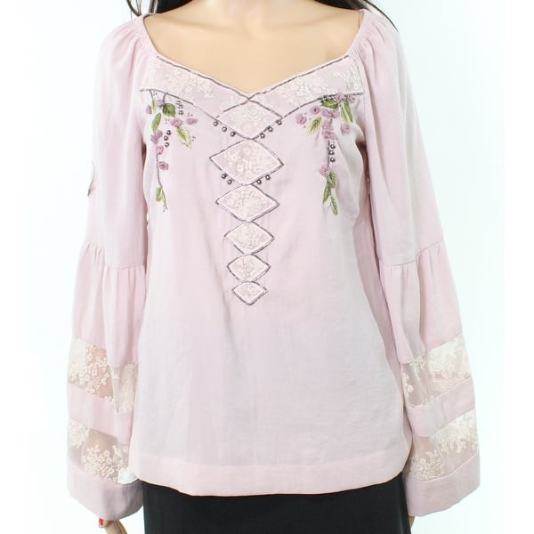 4408528f1d5d5a Shop Nanette Lepore NEW Purple Lace Beaded Mesh Bell-Sleeve 4 Poet ...