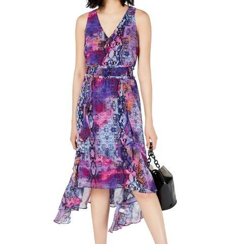 BAR III Women's Dress Purple Size XXL A-Line Reptile Print Midi V-Neck