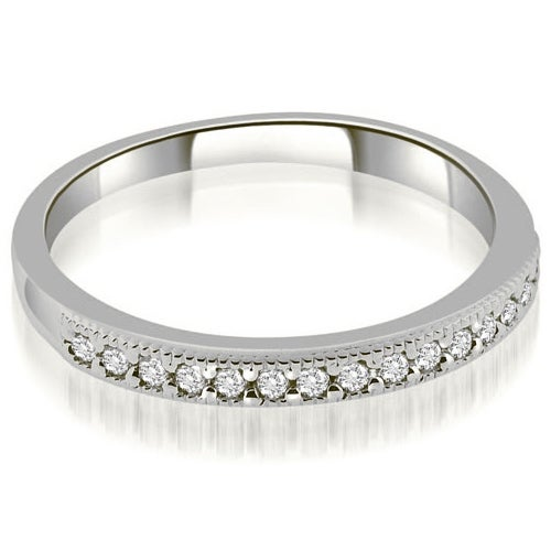 0.25 cttw. 14K White Gold Classic Milgrain Round Cut Diamond Wedding Band