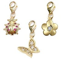 Julieta Jewelry Butterfly, Ladybug, Flower 14k Gold Over Sterling Silver Clip-On Charm Set