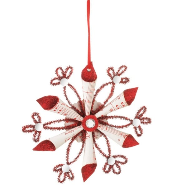 """8"""" Seasons of Elegance Red glitter and Clear Gem Snowflake Christmas Ornament - WHITE"""
