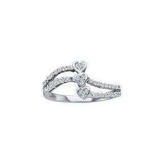 1/4Ctw Round Diamond Heart Ladies Cluster Ring White-Gold 14K