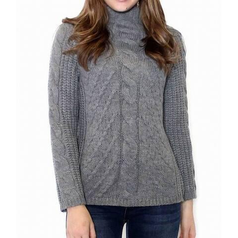 Promesa Womens Stone Gray Size Large M/L Turtleneck Cable Knit Sweater