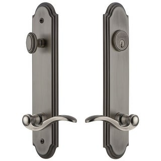 """Grandeur ARCBEL_TP_ESET_238_LH  Arc Solid Brass Tall Plate Single Cylinder Keyed Entry Set with Bellagio Lever and 2-3/8"""""""