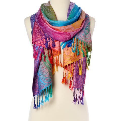 Womens Silk Scarf Luxury Ladies Scarve Shawl Wraps Purple Girls Scarves
