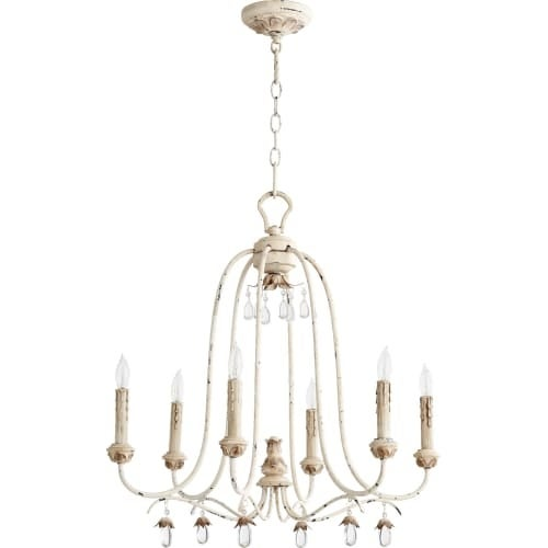 """Quorum International 6144-6 Venice 6 Light 25"""" Wide Single Tier Chandelier with Crystal Accents"""