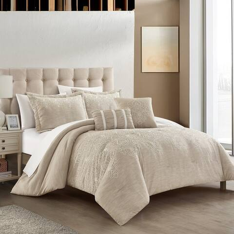 Chic Home Yasmine 5 Piece Comforter Set Embroidered Pattern Heathered Bedding - Decorative Pillows Shams Included