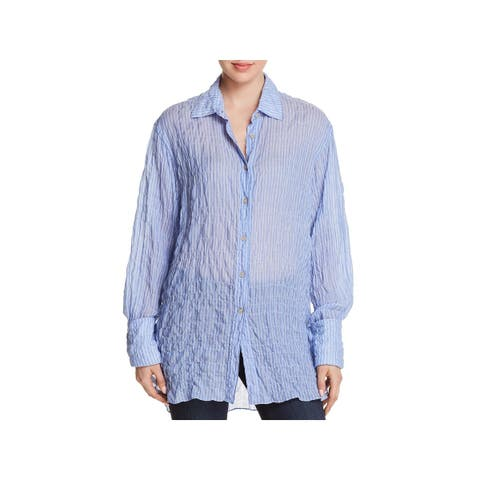 Elizabeth and James Womens Button-Down Top Tunic Textured - S