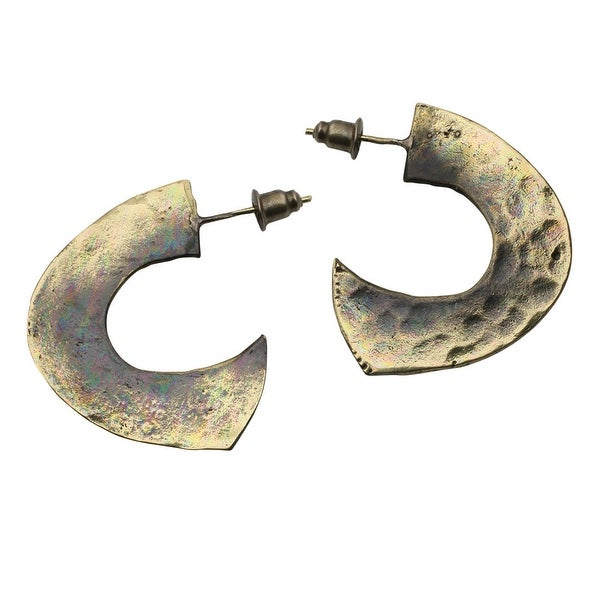 Women's Bronze Organic 1/2 Hoop Dangle Earrings