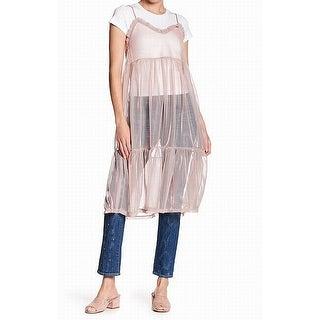 Abound Pink Women's Size Large L Tee-Shirt Mesh Cami Tunic Top