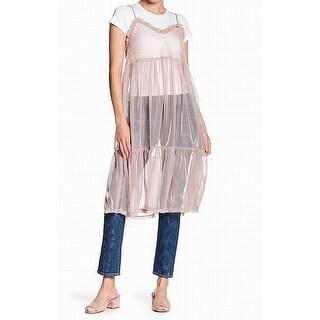 Abound Pink Women's Size Medium M Crop T-Shirt Mesh Tunic Top Set