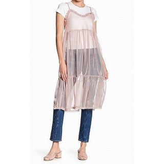 Abound Womens Large Tiered Mesh Twofer Tunic Tee Top