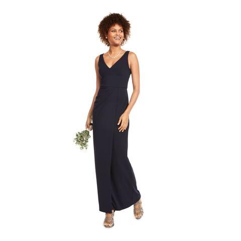 ADRIANNA PAPELL Navy Spaghetti Strap Full-Length Dress 10