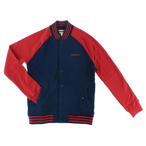 Shop Adidas Mens Baseball Jacket Navy Blue Navy Blue Red
