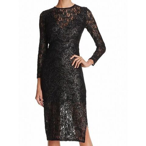 Laundry By Shelli Segal Black Womens 6 Shimmer Lace Sheath Dress