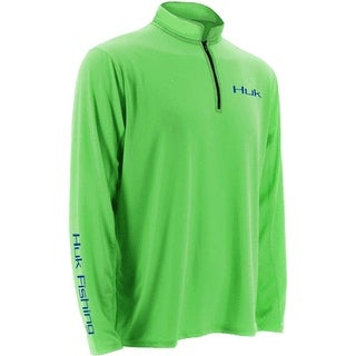 Huk Men's Icon 1/4 Zip Neon Green Medium Long Sleeve Shirt