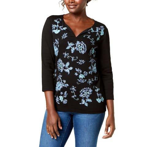 Karen Scott Women's Cotton Embroidered Top (Black, XS)