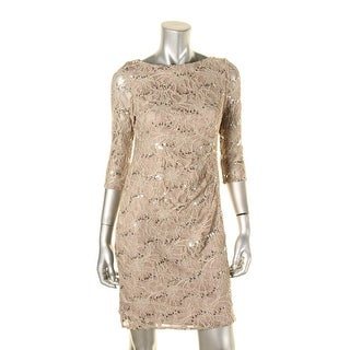 Jessica Howard Womens Cocktail Dress Sequined Lace Overlay - 4P