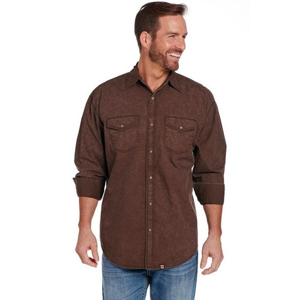 8989c0cd04fc4 Shop Cowboy Up Western Shirt Mens Long Sleeve Vintage Snap Brown - Free  Shipping Today - Overstock - 19849524