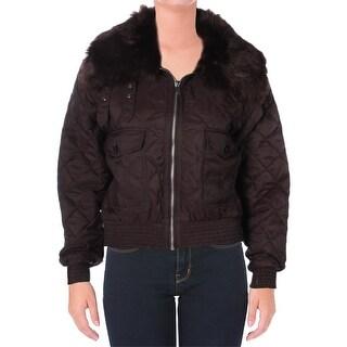 Lauren Ralph Lauren Womens Denetty Basic Coat Quilted Faux Fur