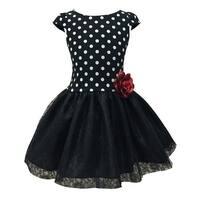 Girls Black White Polka Dot Lace Tulle Tutu Dress