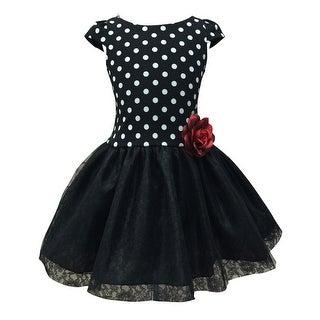 Little Girls Black White Polka Dot Lace Tulle Tutu Dress