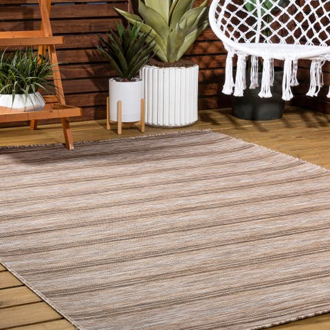 JONATHAN Y Bo Modern Farmhouse Wide Stripe Brown/Natural Area Rug