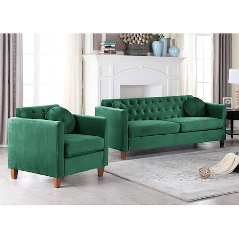 Persaud Kitts Classic Chesterfield Sofa and Chair Living Room Set