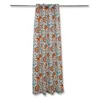 """82"""" Gray and Blue Suzani Patterned Decorative Outdoor Drapery Panel"""