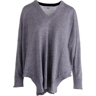 Alexander Wang Womens Wool Ribbed Trim Poncho Sweater - L