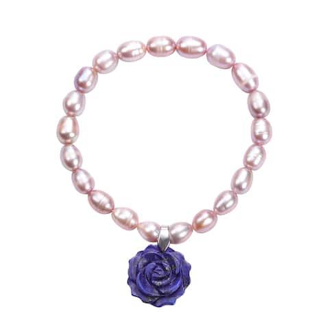 Lapis Lazuli Fresh Water Pearl Charm Bracelet Size 6.5 In Ct 15.5 - Bracelet 6.5''