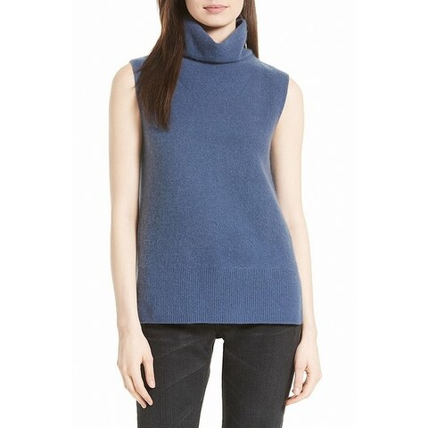 Vince Blue Womens Size Small S Ribbed Hem Turtleneck Sleeveless Top
