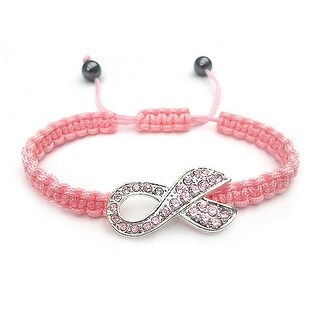Bling Jewelry Imitation Pink Topaz Crystal Breast Cancer Awareness Ribbon Bracelet Silver Plated