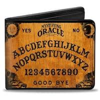 Mystifying Oracle Ouija Board Elements Wood Black Bi Fold Wallet - One Size Fits most