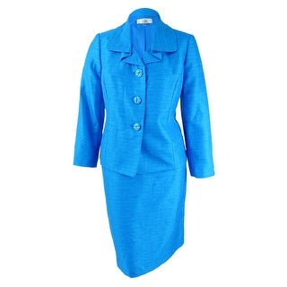 Le Suit Women's Plus Size Three-Button Shimmer Skirt Suit - Cerulean