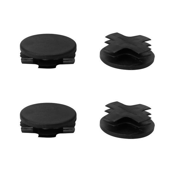 "4pcs 7/8"" 22mm OD Plastic Round Tube Insert Ribbed Cover Caps Black Floor Table Protector, 0.75""-0.83"" Inner Dia"