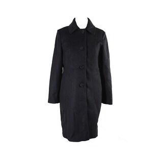Anne Klein Charcoal Wool-Blend Walker Coat - 10