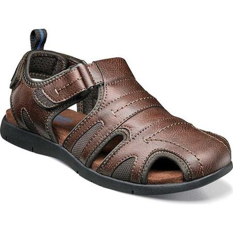 Nunn Bush Men's Rio Grande Closed Toe Fisherman Sandal Tan Faux Leather