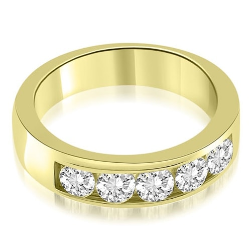 0.75 cttw. 14K Yellow Gold Classic Channel Round Cut Diamond Wedding Band