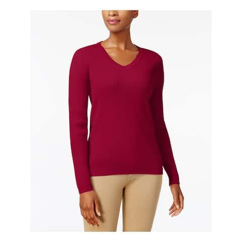 KAREN SCOTT Womens Red Solid Long Sleeve V Neck Sweater Size S