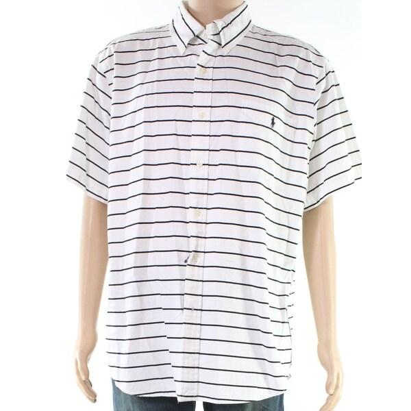 9516709f1b Shop Ralph Lauren White Black Mens Size 2XL Striped Button Down Shirt - Free  Shipping Today - Overstock - 28364309