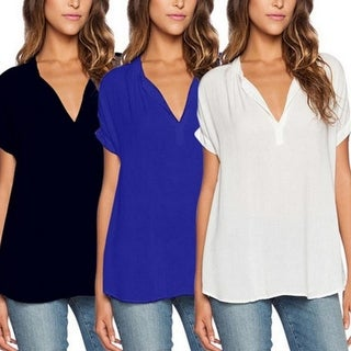 S-4XL Plus Size Women hot V Neck Chiffon Blouse Ladies Summer Slim T Shirt