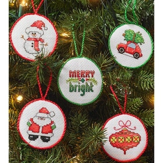 """Christmas Minis Ornaments Counted Cross Stitch Kit-2.5"""" Round 14 Count Set Of 30"""
