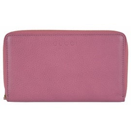 Gucci 321117 XL Pink Textured Leather Zip Around Travel Wallet Clutch