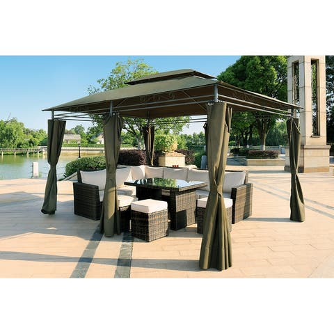 Aluminum Frame Soft Top Outdoor Patio Gazebo - 118.1*157.5