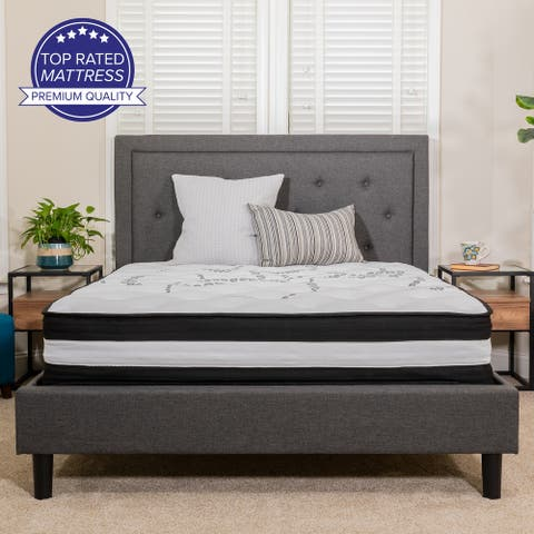 "12"" Foam and Pocket Spring Mattress, Mattress in a Box - Premium Mattress - White"