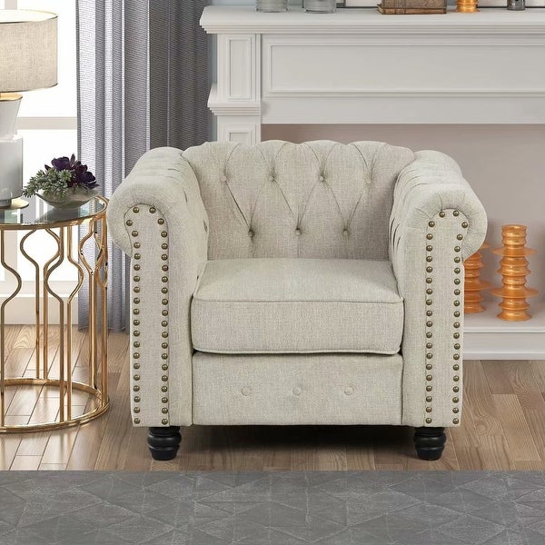 Morden Fort Tufted Upholstered Chesterfield Arm Chair for Living Room, Chair Fabric, Linen. Opens flyout.